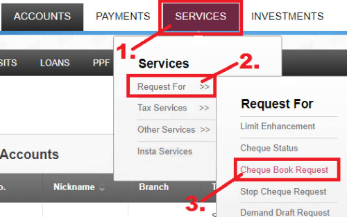 how to request for cheque book in axis bank online