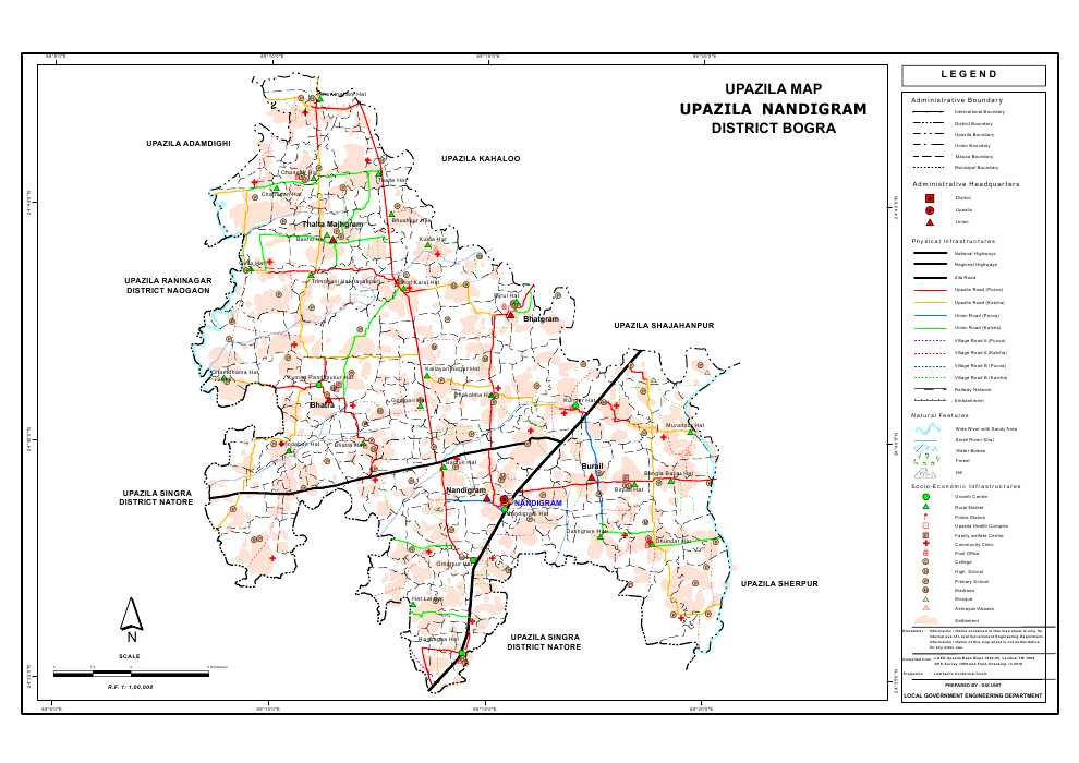 Nandigram Upazila Map Bogra District Bangladesh