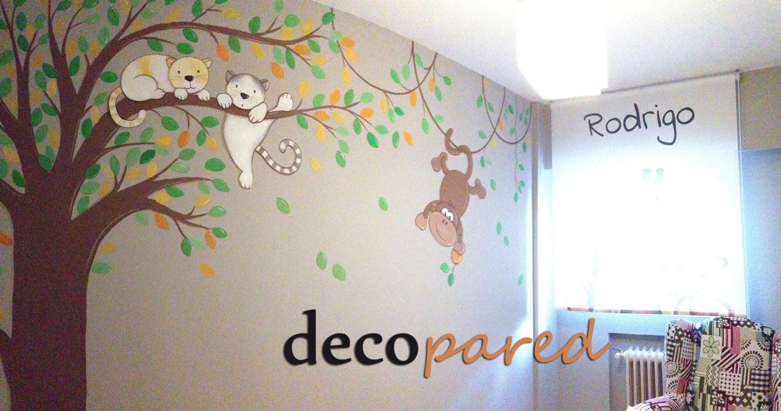 Decopared mural pintado arbol con animales - Decoracion en pared ...