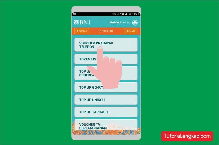 Melakukan transaksi pembelian bank melalui hp android