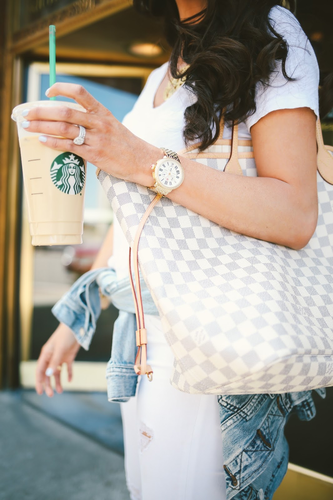 all white outfits for spring and summer, louis vuitton neverful damier azur, j brand white distressed denim, white tee made well, janessa leone grey hat, summer fashion pinterest, spring fashion pinterest, outfit idea summer pinterest, tulsa fashion blogger, downtown tulsa, vince camuto conley bootie, michele Serein watch 18mm, david yurman bracelet stack, emily gemma, the sweetest thing blog, celine mirrored aviators