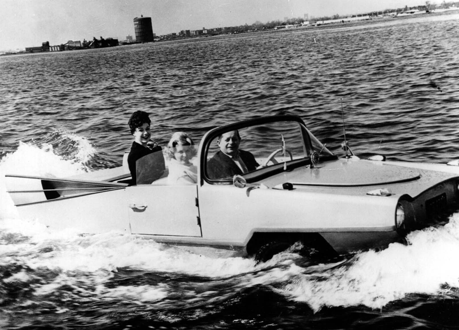 The Amphicar is demonstrated at the International Motor Show on Long Island. 1960.