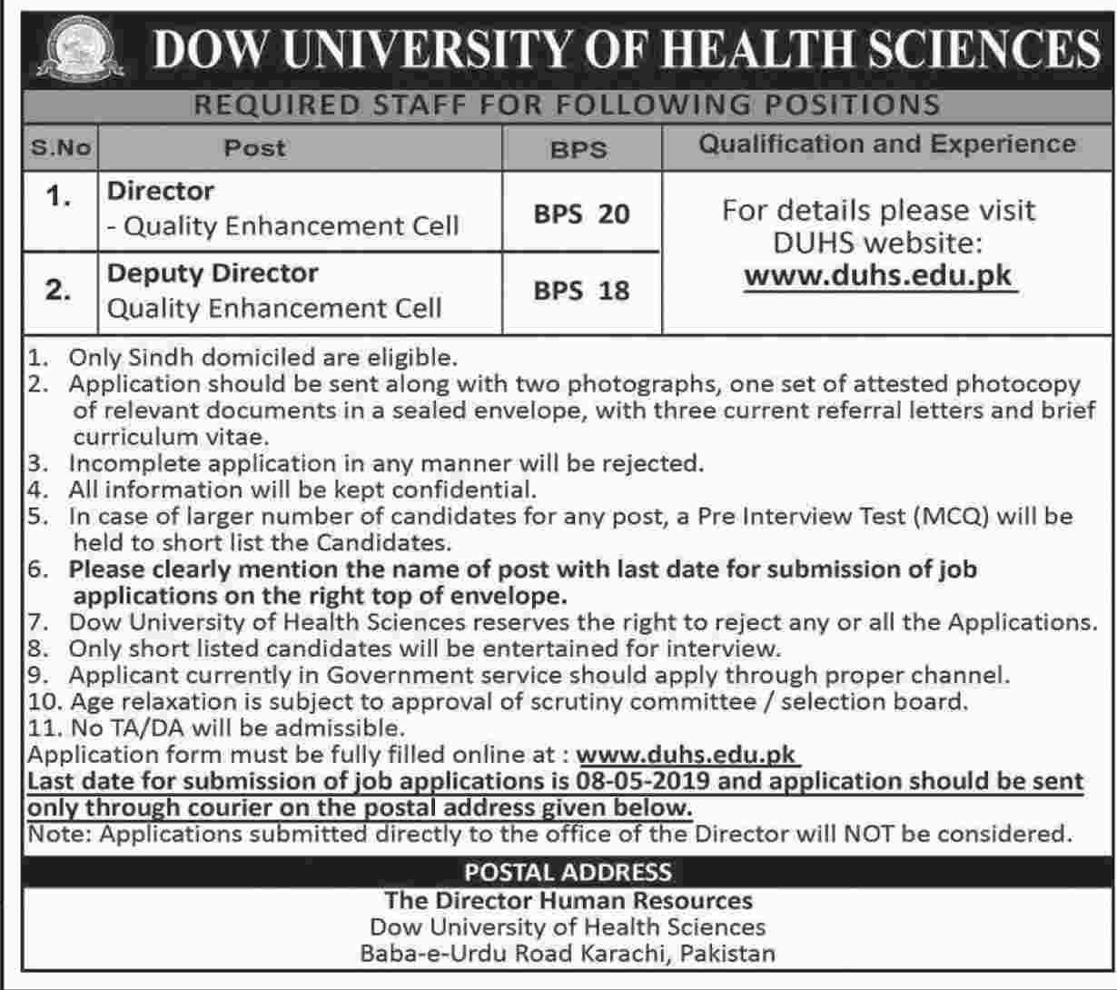 Dow University of Health Sciences Jobs