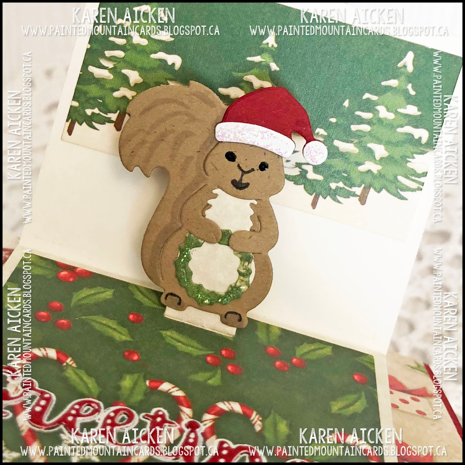 Painted Mountain Cards: Happy Christmas Frame Pull Card