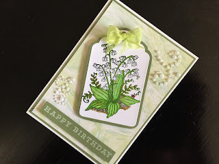 Hand made stamped and die cut  lily of the valley birthday card