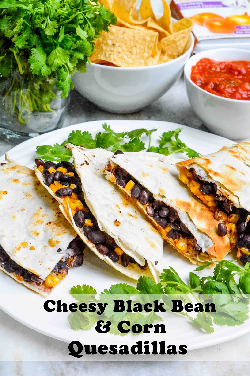 Cheesy Black Bean & Corn Quesadillas