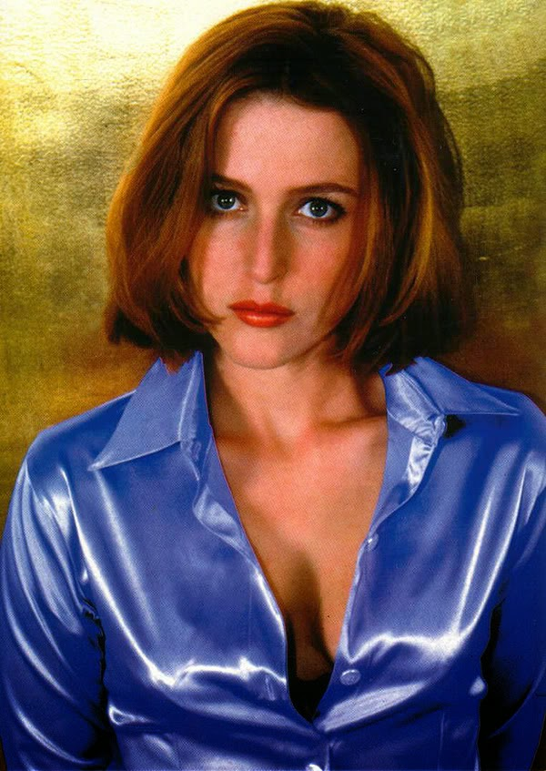 Gillian Anderson Blue Satin Blouse Satin Lite House