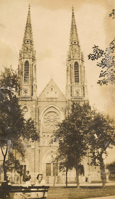 St. Patrick Catholic Church, Elizabeth, NJ. Sometime in the 1920's. Karvoius girls sitting on bench. Collection of E. Ackermann.