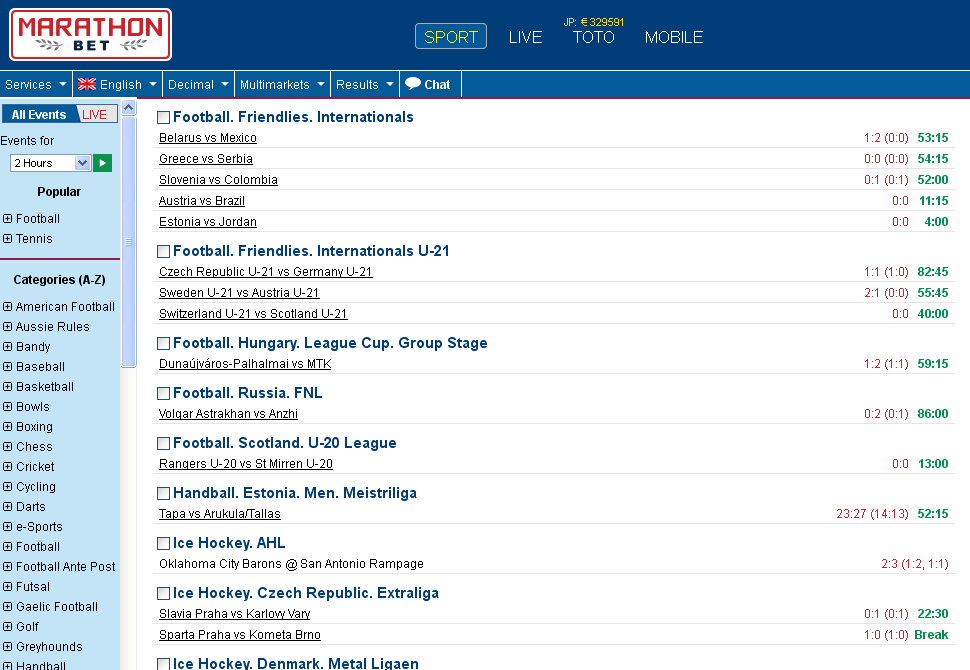 Marathonbet Livescore Screen