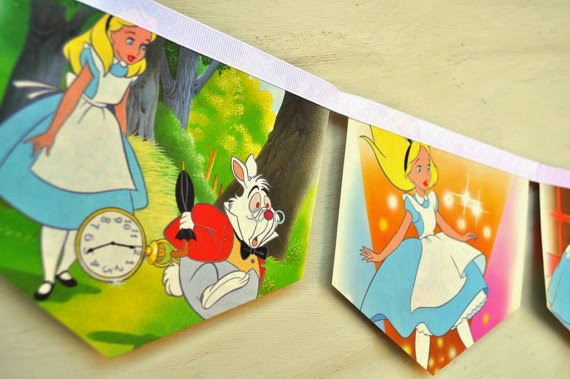 ALICE IN WONDERLAND Vintage Little Golden Story Book Repurposed Childrens Gift Party storybook party decoration disney