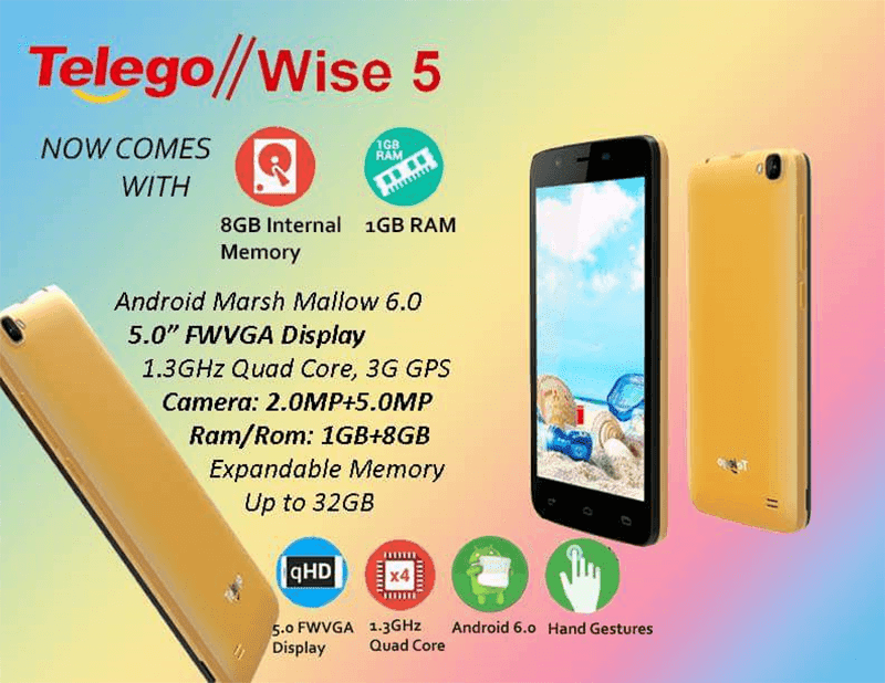 Telego Wise 5 Announced, 5 Inch Marshmallow Phone With 1 GB RAM For 2499 Pesos!