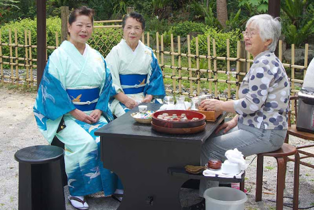 women, kimonos, tea, garden