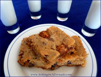 Peanut Butter Crunch Bars, a dense peanut butter flavored bar with candy pieces and a surprise crunch | Recipe developed by www.BakingInATornado.com | #recipe #desert