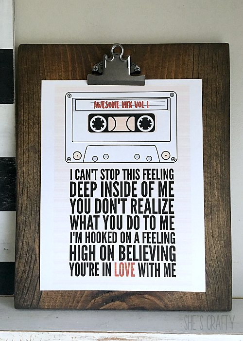 free printables, cassette tape printable, guardians of the galaxy printable