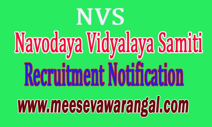 NVS (Navodaya Vidyalaya Samiti) Recruitment Notification 2016