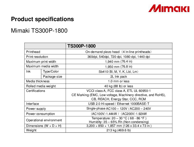 Mimaki specifications