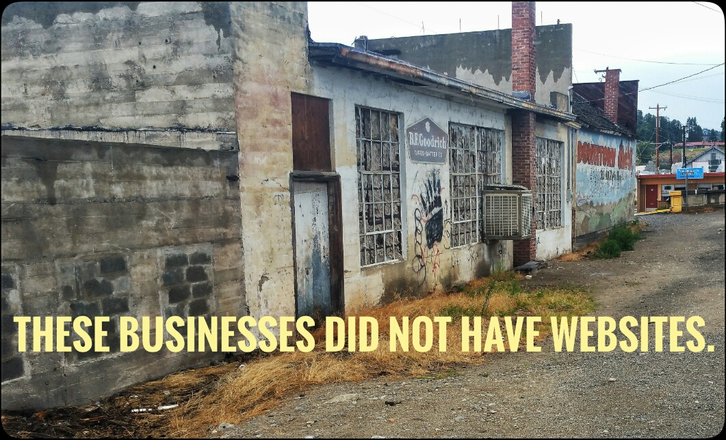 Dirty and deserted storefronts of businesses with no websites.