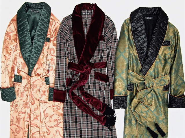 Mens quilted silk robe wool dressing gown paisley smoking jacket