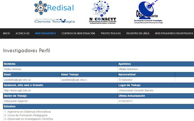 REDISAL Red nacional de investigadores en El Salvador