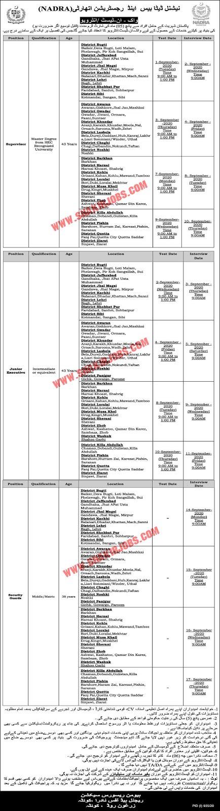 Jobs in NADRA Jobs September 2020 (120 Posts)