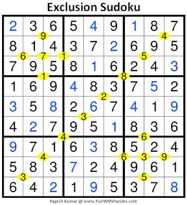 Answer of Exclusion Sudoku Puzzle (Daily Sudoku League #228)