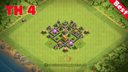 Formasi clash of clans town hall 4 farming base