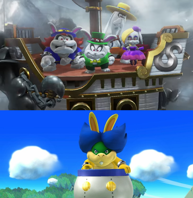 Super Mario Odyssey four rabbits quartet airship villains Ludwig Von Koopa Super Smash Bros. For Wii U Bunny Hood