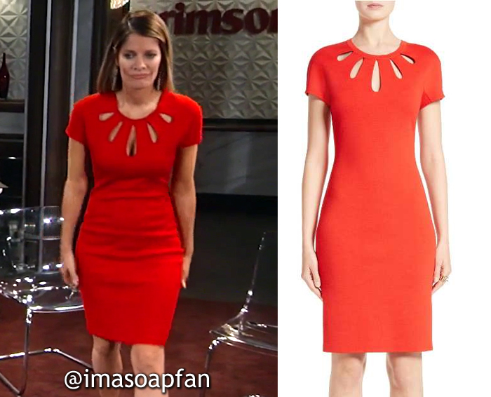 Nina Reeves, Michelle Stafford, Red Dress with Cutout Neckline, St. John, General Hospital, GH