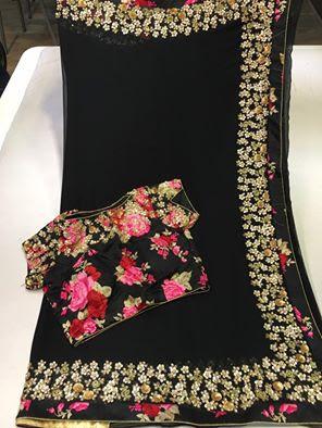 6bd24b7f8e Elegant Black Color Platinum Chiffon saree with designer blouse | Buy Online  Sarees