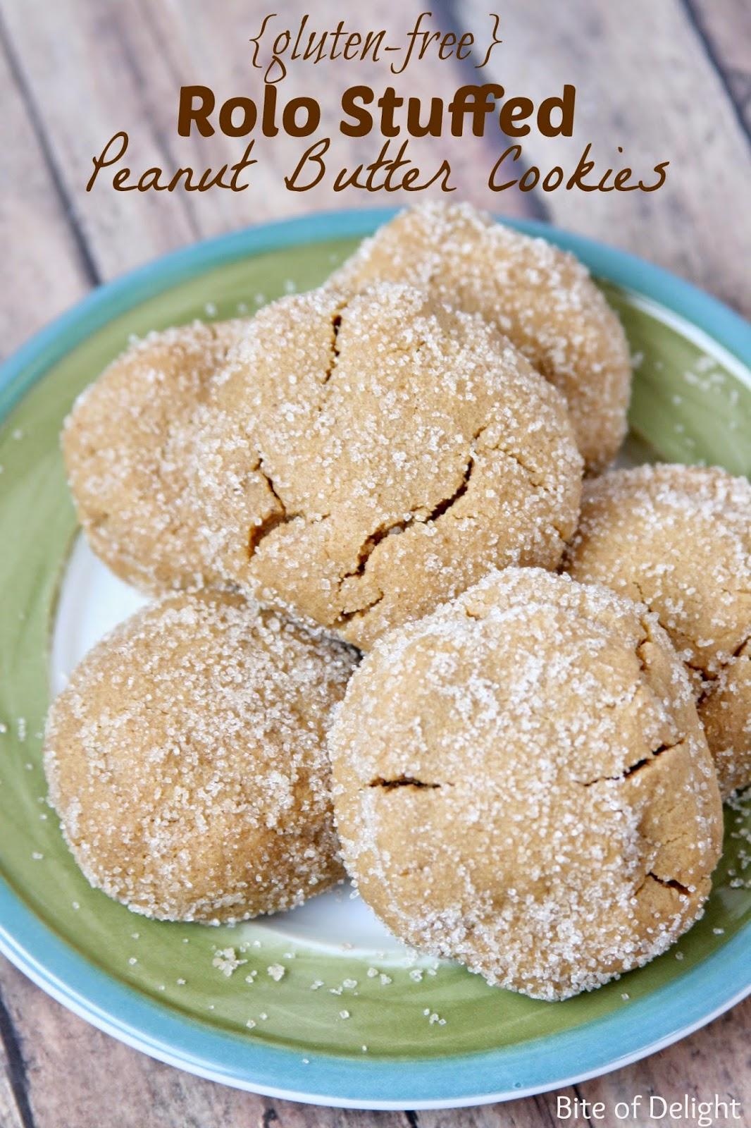 {Gluten Free} Rolo Stuffed Peanut Butter Cookies