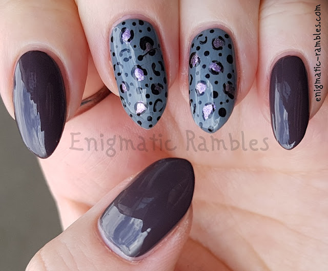 Enigmatic Rambles: Nails: Grey and Purple Animal Print