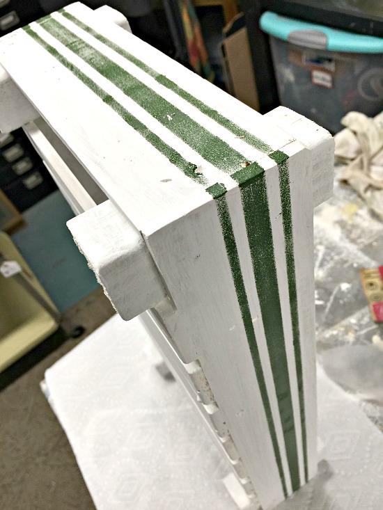 Grain sack stripes on a DIY tulip tray built with stir sticks