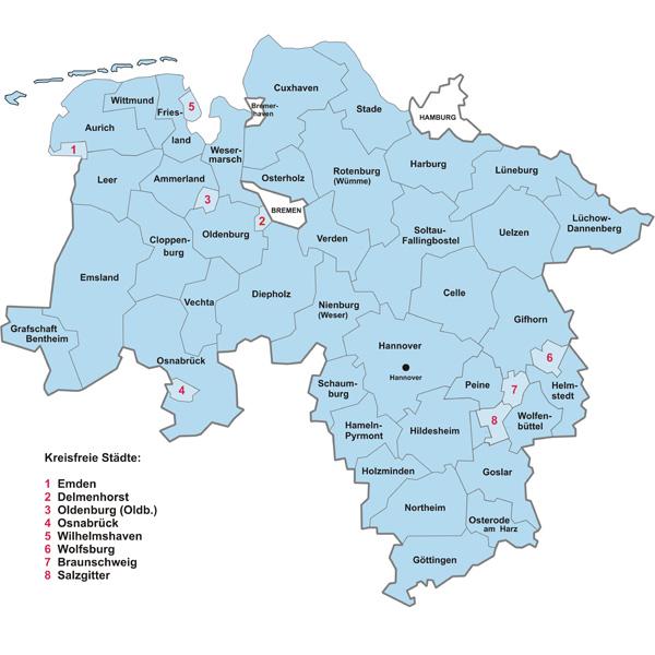 Deutschlandkarte Blog Niedersachsen Karte Regionen Bild