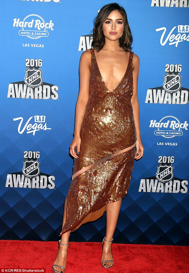 Olivia Culpo in a plunging sequinned dress at the 2016 NHL Awards