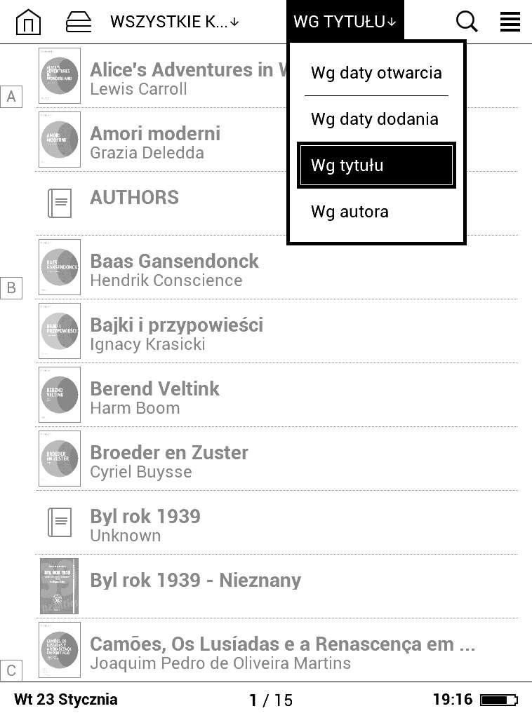 PocketBook Basic Lux - opcje sortowania