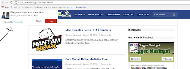 Cara Memasang Plugin Browser Push Notification Di Blog