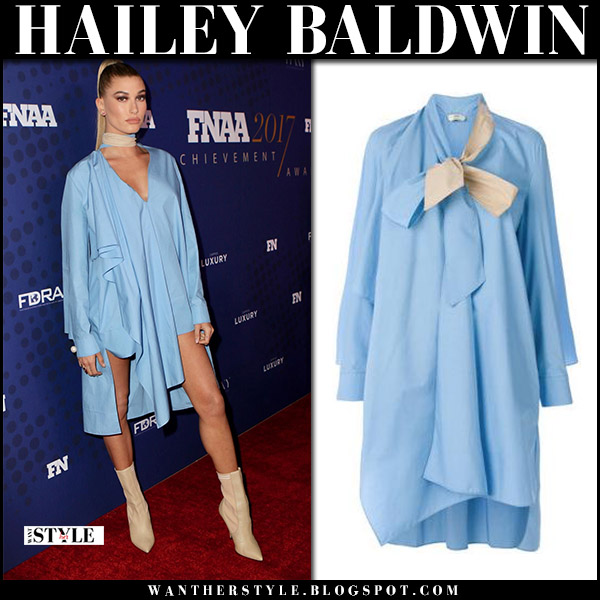 Hailey Baldwin in light blue shirt dress fendi and beige boots fendi rockoko red carpet november 28