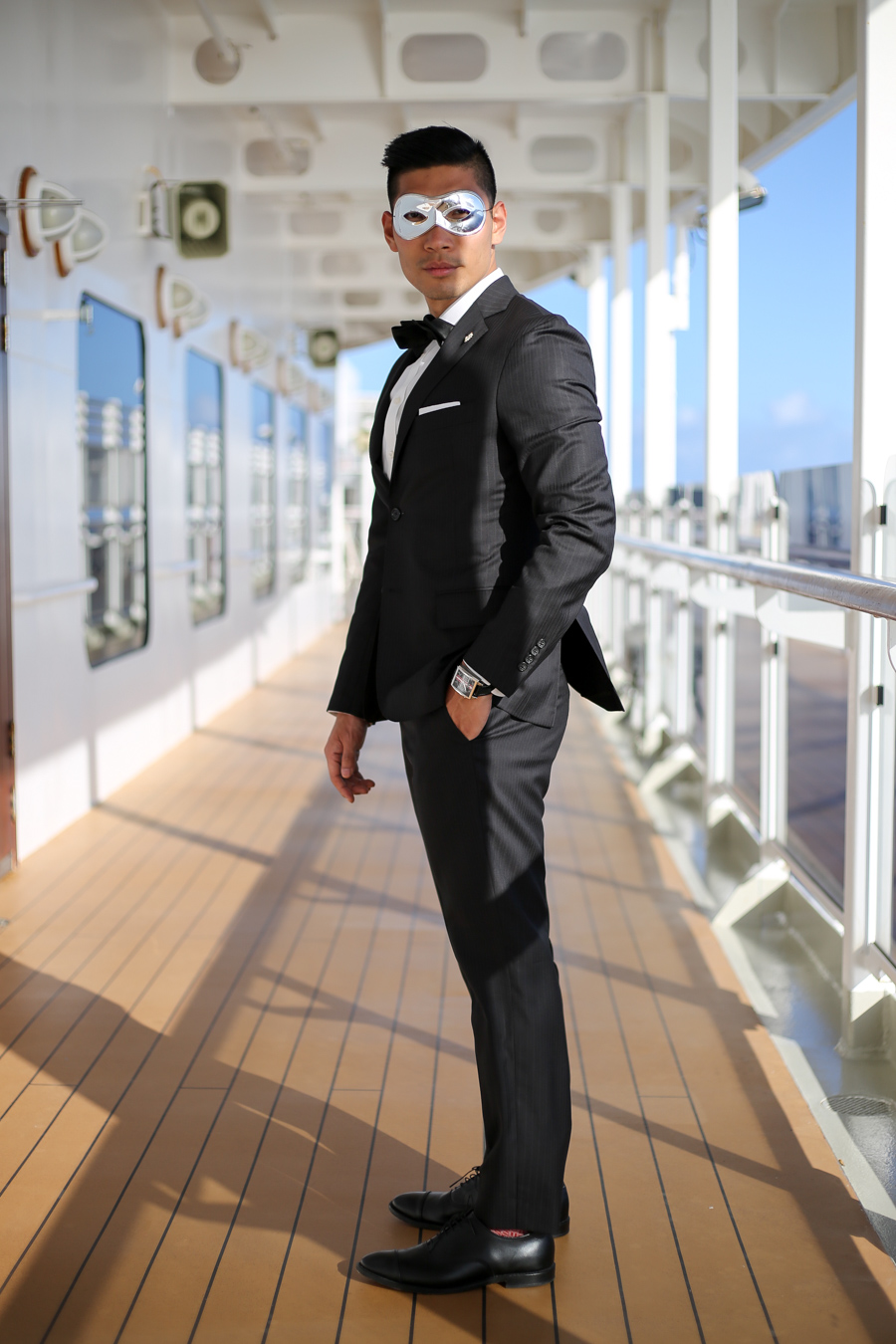Menswear, Masquerade, Todd Snyder Suit, Allen Edmonds, Hugo Boss, Ball, Leo Chan, Cunard Cruise