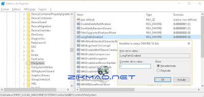 Activer le chemin d'accès long de NTFS ( Windows 1607 )  LongPathsEnabled