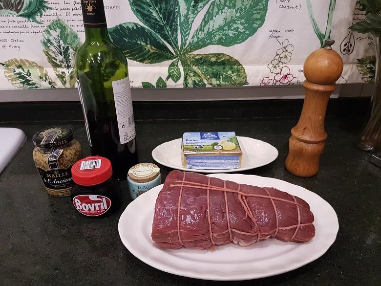 Ingredientes del Rosbif al vino tinto