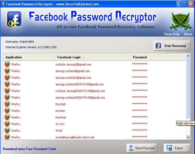 Tips And Tricks: Facebook Account Hacking-FB Password Decryptor