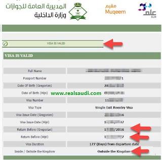 Visa Validity Status Page