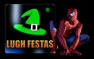logo Lugh Festas com Homem Aranha