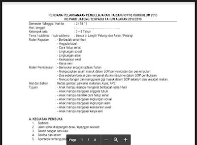 RPPH KB B Semester 2 Tema Pelangi dan Awan Kurikulum 2013