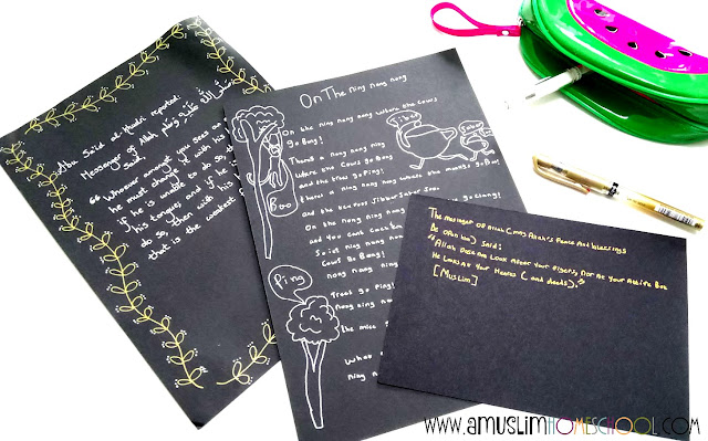 Using black paper and metalic pens to have fun with copywork