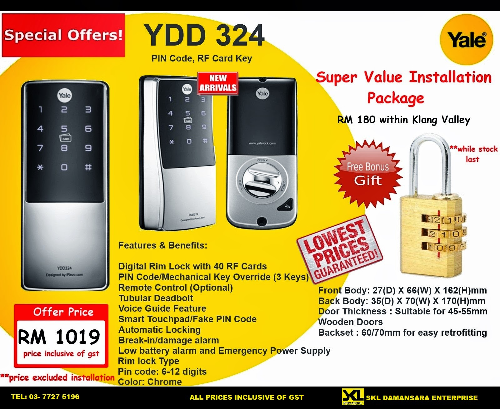 Skl Diy Uptown Yale Digital Rim Lock Ydd 324 Promotion
