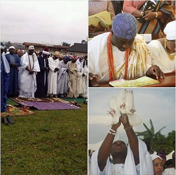 Photos Of Ooni Of Ife At Eid-el-Kabir, Church & Ifa Shrine