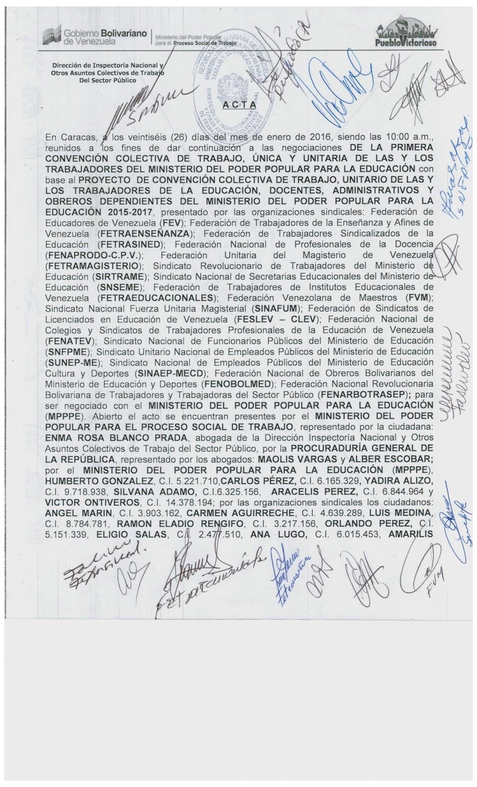 CLAUSULAS APROBADAS. ACTAS DEL 26/1/2016 CONTRATO UNITARIO