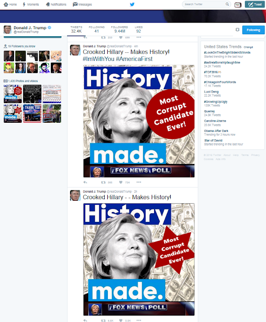 Crooked Hillary Clinton Most Corrupt Candidate Ever Donald Trump tweet antisemitic six sided star cash replaced with circle