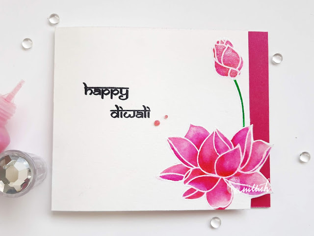 guest designing, Ranganjali stamps, Zig clean colour brush pens, One layer card, Quillish, Diwali card, Ranganjali lotus stamp card, Lotus stamp card, Water lily card, Indian card, cards by Ishani, OLC, Hindu festival, Ishani guest designer